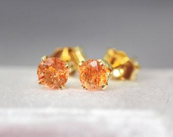 Sunstone Earrings - Gemstone Stud Earrings - Orange Earrings - Sunstone Stud Earrings - Sunstone Jewelry - Earrings For Good Luck and Travel