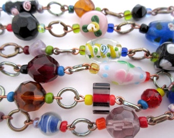handmade connector rosary glass bead necklace - j5581