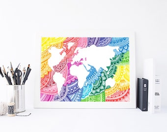 World Map World Map Print Mandala Wall Art Wall Art - Mandala map of the world