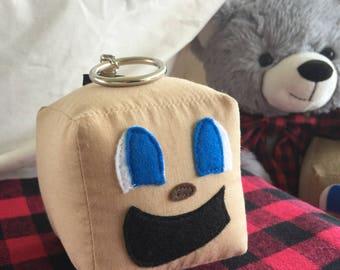 "Tiny Box Tim Keychain! Cotton Plush Toy. 3"" cube. Markiplier Youtuber."