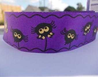 1 mètre de ruban spécial halloween violet et noir