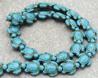Beads turtle howlite turquoise 15 mm - Turquoise howlite turtle beads 15 mm 10/20 units