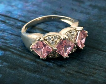 Pink Crystal Ring 925 Sterling Silver Handmade Natural Gemstone Ring jewelry