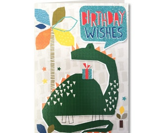 SALE! Was 1.99 Now 1.50 Cut-Out Cuties - Birthday Wishes - Birthday Card - Birthday Greeting Card - Birthday Dinosaur - CO24