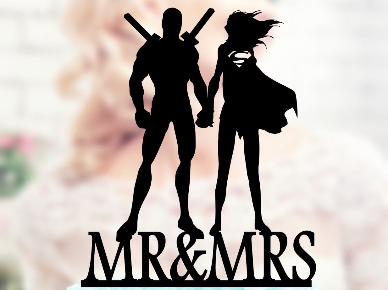 Deadpool And Supergirl Silhouette Cake Toppers Superheroes