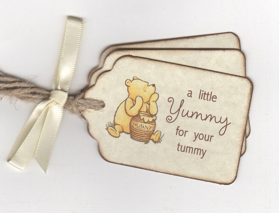 Classic Winnie Pooh Baby Shower Tags For Baby Shower Favors