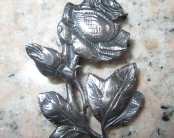 Vintage Sterling Silver Rose/Flower Brooch