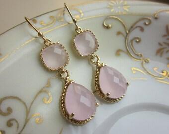 Pink Opal Earrings Gold Pink Earrings Teardrop Glass - 14k Gold Filled Earwires - Bridesmaid Earrings Wedding Earrings