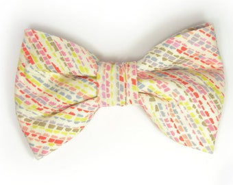Mens Clip-On Bow Tie Wedding  red yellow green striped bowtie