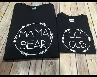 Mama papa baby bear lil cub one Piece or Shirt - choose your colors