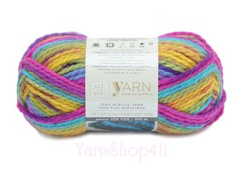 PASSION Bulky Yarn. All Things You Yarn. Premium Acrylic. Bright Tropical Rainbow Colors. Soft Bulky Variegated. Same as Charisma Passion >