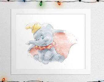 DISNEY DUMBO, Dumbo Print, Dumbo Watercolor, Baby Dumbo, Dumbo Wall Art, Disney Watercolor, Dumbo Nursery, Disney Nursery, Digital Print