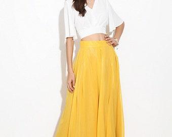 Yellow Chiffon Maxi skirt.Turquoise skirt.  Dark blue skirt. Maxi skirt. Chiffon Skirt. Floor-length. Summer skirt. The skirt for a party.