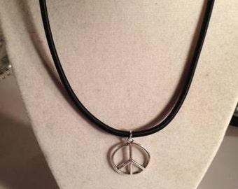 Peace Sign Necklace - Black Leather Jewelry - Silver Pendant - Handmade Jewellery - Anti War - Symbol