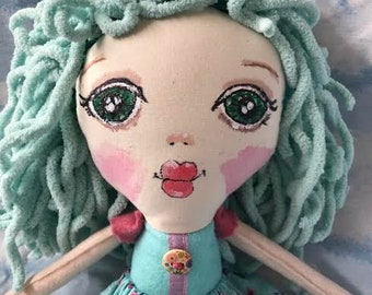 "Kati's Cutie Pie Original, ""April"", Hand Made 16"" Cloth Doll, Pastel Green Hair, Green Eyes,2 Removable skirts, FREE shipping"