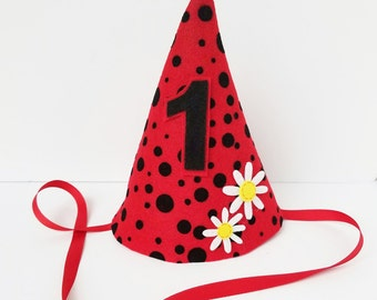 Ladybug First Birthday Hat Girls Red And Black Polka Dot