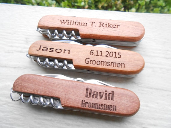 Personalized Pocket Knife, Laser Engraved Wood. Wedding, Men's, Groomsmen Gift, Dad.  Custom Orders Welcome.