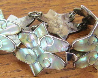 "Vintage Mexican Sterling Silver jewelry hand made Mexico 6 linked panel bracelet with natural abalone shell inlay Artist signed ""AV"""