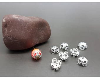 30 caps 4 petal bead caps silver 9x6mm