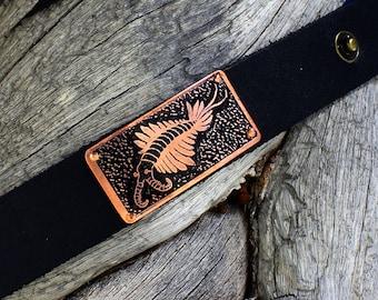 Leather & Etched Copper Burgess Shale Fossil Anomalocaris Cuff Bracelet