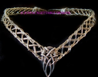 Celtic Gothic Silver Celtic Crown with pointed knot adjustable- for men and women larp ren sca