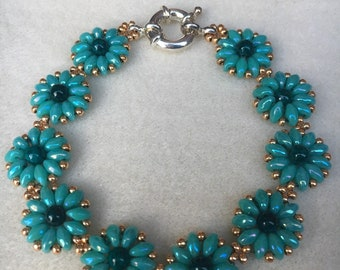Turquoise Daisy Flower Bracelet