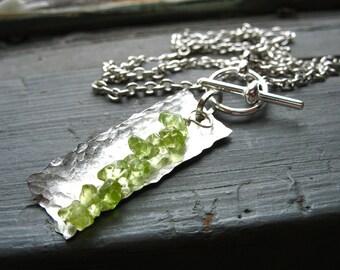 Peridot Necklace, Peridot Stone Hammered Rectangle Necklace, Peridot Handmade Metalwork Necklace
