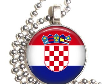 Croatia Flag, Altered Art Pendant, Earrings and/or Keychain, Round Photo Silver and Resin Charm Jewelry, Flag Earrings, Flag Key Fob