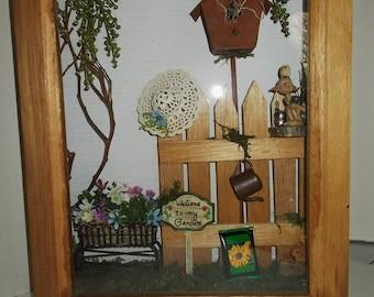 "Handcrafted Gardening Miniatures Shadow Box Wall Art, 11 x 14"""