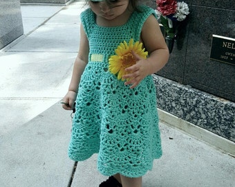 Lacy Shells Dress Crochet Pattern*PDF FILE ONLY* Instant Download