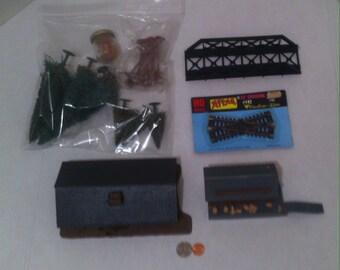 Vintage HO Scale Train Accessories, Buildings, Bridge, Trees, Telephone Poles, Fun Train Track Accessories, Toy Train, Model Train, Fun