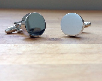 Solid Round silver cufflinks