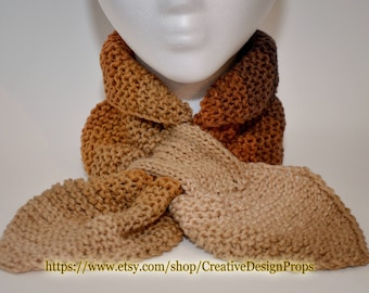 Knit Coffee Ascot Scarf - Pull Through Keyhole Stay Put Popular Ascot Short Scarf Top Trend Christmas Gift Winter wear Men Women