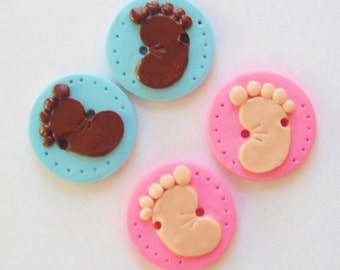 Button Twin Baby Steps handmade polymer clay buttons ( 2 )