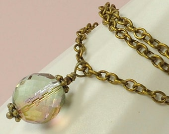 Glass Necklace with Tourmaline Luster Faceted Czech Glass Pendant and Antiqued Brass