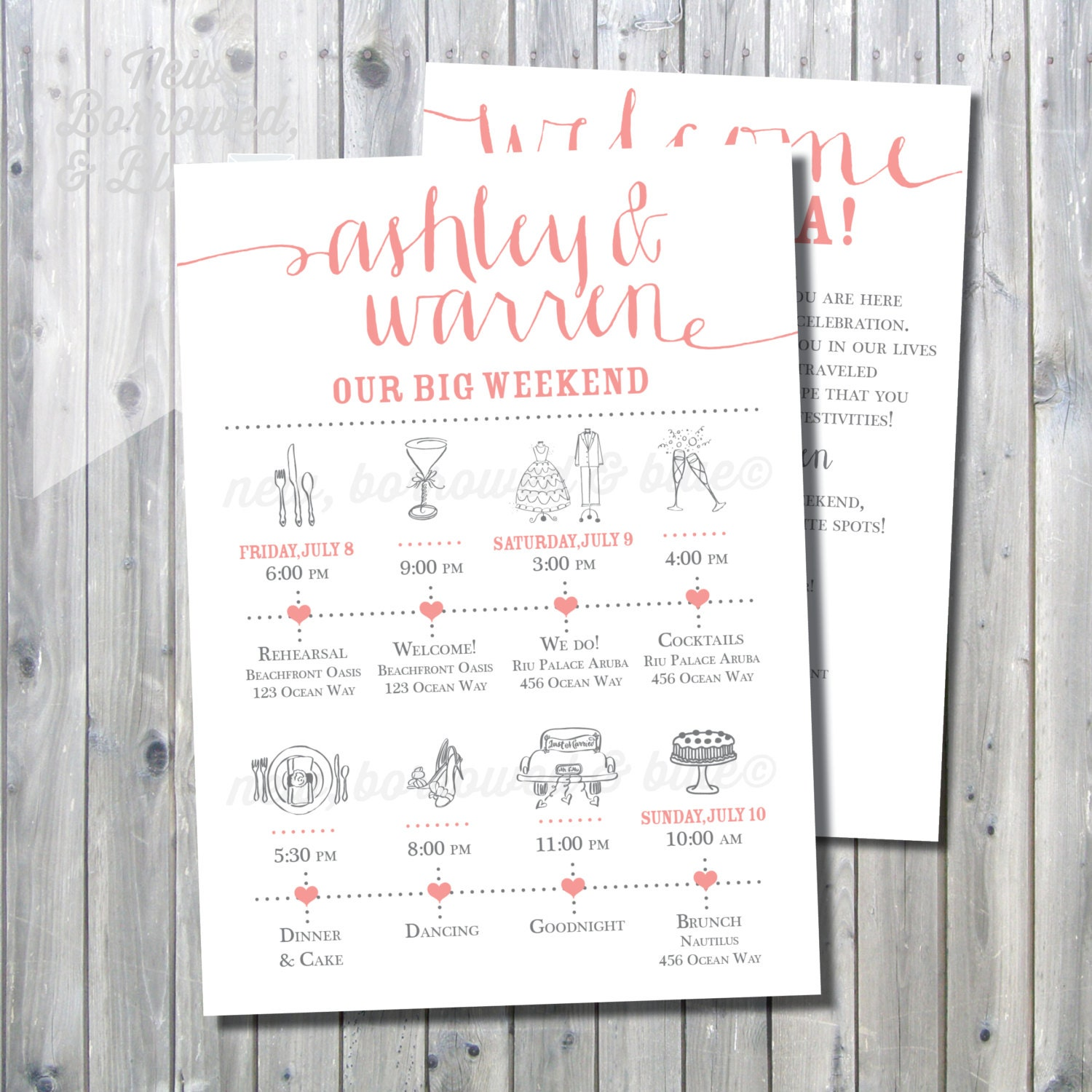 Printable wedding itinerary timeline with welcome letter zoom thecheapjerseys Image collections