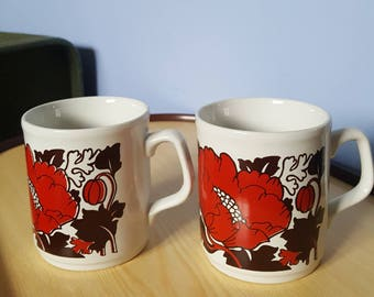 Vintage Table Tops Cartwrights Staffordshire Mug Red Poppy