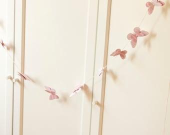 Butterfly Banner Garland Baby Shower Butterflies Birthday Decoration Pale Pink Decor