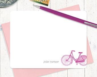 note personnalisée - VINTAGE filles bicyclette - vélo cartes - lot de 12 plat Cartes - Papeterie - stationnaires - vélo pour femmes