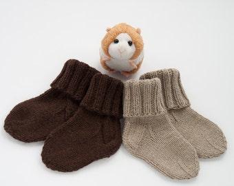 MADE TO ORDER/ Hand knitted baby socks/ merino wool
