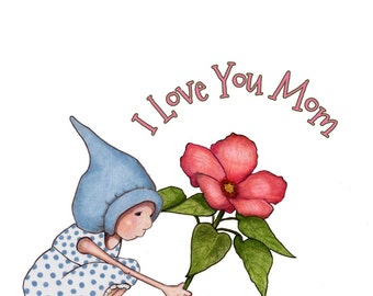 Mother's Day Clipart, Hand Drawn, Printable, Girl Flower, I Love You MOM, Flower Clipart, Gnome Clipart, Commercial Use, Instant Download
