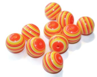 Qty 10 Red Orange Striped Resin Beads 20mm Beads Loose Beads Big Beads Craft Supplies Jewelry Supplies