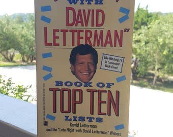 David Letterman Book of Top 10 / Late Night / TV / Celebrities / Talk Show Host / New York / 1990 / Humor / Pocket Book / Books