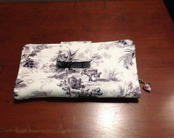 Women's fabric bifold wallet, fabric wallet, small clutch, black and white fabric wallet