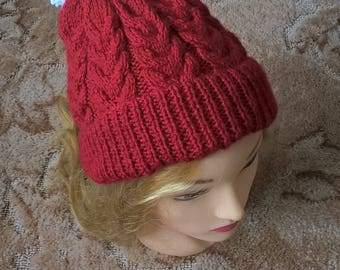 Adult red cabled bobble hat