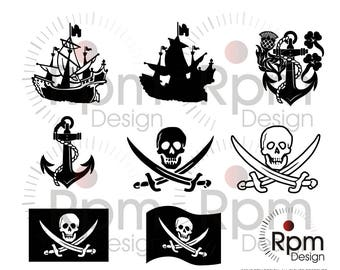 Pirate SVG File, Jolly Roger, Pirate Shipe, Pirate Flag, Anchor, CNC, Laser, Cricut, Silhouette, Cuttable, Digital File, Vector, Download