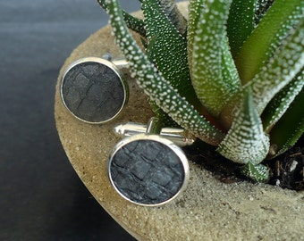 Metallic grey salmon leather cuff links, stylish men's cufflinks, engagement cuff links, wedding cuff links, fish leather jewelry
