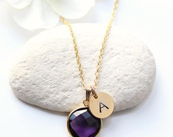 Amethyst Gold Necklace - Initial Birthstone Necklace - Amethyst Gold Jewelry Jewellery - Amethyst  February Birthstone Necklace - C12