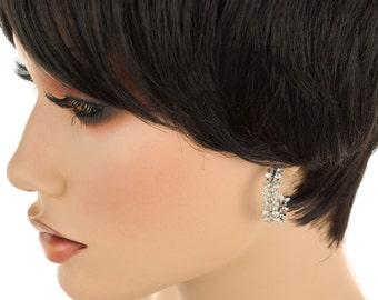 Vintage Rhinestone Pierced Earrings, Half Hoop, Rhinestone Earrings, Half Hoop Rhinestones, Vintage Earrings, Silver Tone, Retro, 1960's