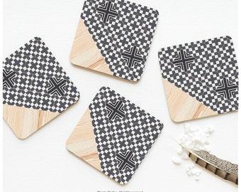 Coaster Set of 4 Faux Wood Ceramic Tile Print, Gray Geometric Cork Coasters, Geometric Coaster Set, Tile Pattern Coasters 45.